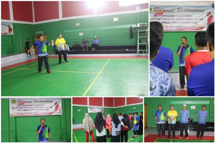 Sambut HUT ke 7, Kemenag Sungai Penuh Gelar Turnamen Badminton